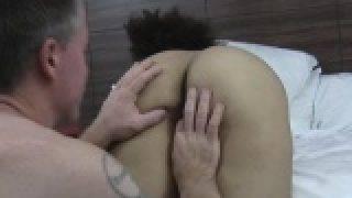 Perky ebony amateur babe pounded at motel casting